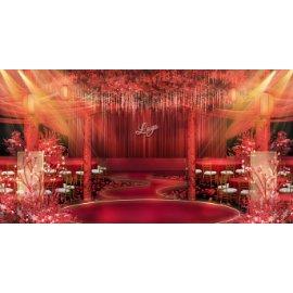 红色婚礼婚庆舞台效果图