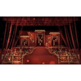 红色大气中国风婚礼舞台