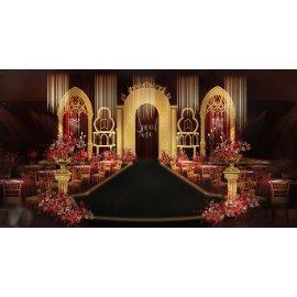 金色豪华婚礼舞台效果图