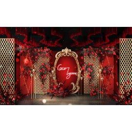 红金大气欧式婚礼舞台效果图