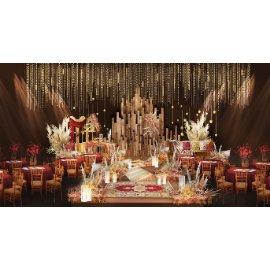 红金色婚礼舞台效果图