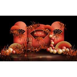 红色新年中国风舞台堆头