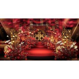 红金婚礼舞台效果图