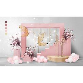 粉色婚礼浪漫堆头
