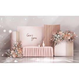 粉色婚礼婚庆舞台布景
