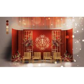 红金中国风婚礼舞台效果图