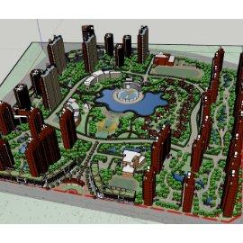 现代建筑居住区SU模型规划设计