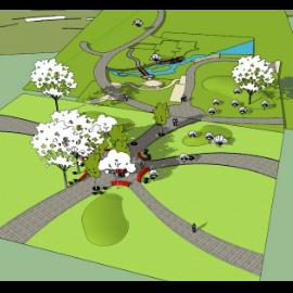 广场公园景观模型