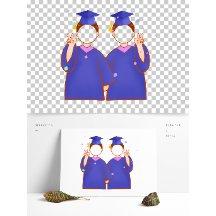 蓝色毕业照合影相框