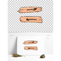 卡通木头方向指示牌