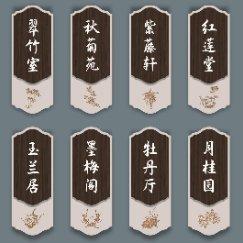 中国风雅致花朵名称导视牌